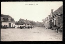 CPA ANCIENNE- ANVIN (62)- LA PLACE AVEC BELLE ANIMATION- ATTELAGES- EPICERIE CENTRALE- BUREAU DE TABAC- - Sonstige Gemeinden