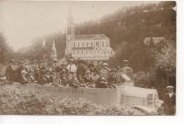 CARTE PHOTO  LOURDES - BASILIQUE, AUTOBUS MERCEDES, SERVICE DES GROTTES DE BETHARRAM,TEL.2.25 - Lourdes