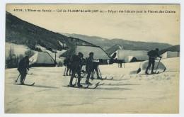 CP COL DE PLAIMPALAIS 73 SAVOIE DEPART DES SKIEURS POUR LE PLATEAU DES CHALETS - Frankrijk