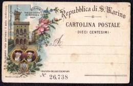 Carte Pionnière 1894. Répubblica Di S. Marino. CARTOLINA POSTALE DIECI CENTESIMI - Saint-Marin