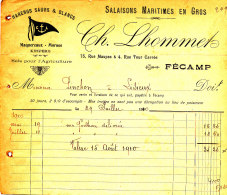 FA 802 / FACTURE  SALAISONS MARITIMES EN GROS  CH. LHOMMET FECAMP    1910  (FORMAT A 5) - France
