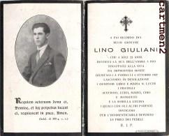 FAIRE-PART DECES LINO GIULIANI MORTI RELIGION TRENTO - Avvisi Di Necrologio