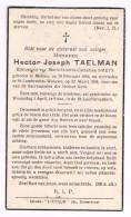 Bid Voor De Ziel, Hector-Joseph TAELMAN (M. Smets), Melsen 1869 / St-Lambrechts-Woluwe 1936 - 2 Scans - Images Religieuses