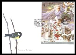 Ukraine 2014 Mih. 1458/61 (Bl.125) Winter. Fauna (FDC) - Ukraine