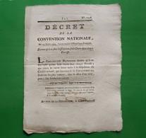 D-FR Révolution 1793 Décret Portant Qu'il Ne Sera Laissé Qu'une Seule Cloche Dans Chaque Paroisse - Documents Historiques