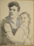 Dessin Au Crayon-Illustrateur -Michèle Morgan Et Henri Vidal (5) - Dessins
