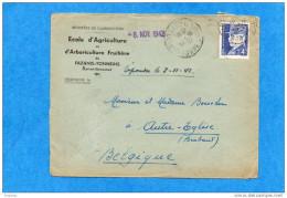 GUERRE 39-45lettre Françe > Belgique - Double Censures Allemandes-oct  1942-affran  N°522- 4fr Pétain  Seul Sur Lettre - Poststempel (Briefe)