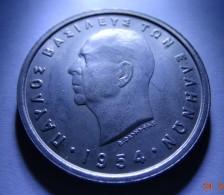 GREECE 1954 5 DRACHMAI HOLLOW CHEEK, KING PAVLOS, UNC - Grèce