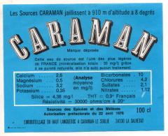"""étiquette D´eau Minérale """" CARAMAN """" - Source Près Du SOULIE , La Salvetat Sur Agout - Etiketten"""