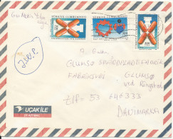 Turkey Air Mail Cover Sent To Denmark 6-7-1989 - 1921-... Republic