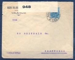 1917 , VALENCIA , SOBRE CIRCULADO A SHEFFIELD , BANDA DE CIERRE DE LA CENSURA BRITÁNICA - Cartas