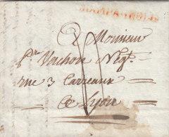France 1819 CHAMPAGNOLE En Rouge Sur Lettre Pour Lyon (o101) - Marcophilie (Lettres)