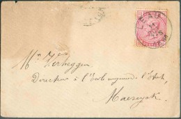 N°38 - 10 Centimes Rose, Obl. Sc LEAU Sur Enveloppe Du 11 Octobre 1884 Vers Maeseyck. Rare Sur Cette émission. - 11095 - 1883 Léopold II