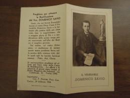 IL VENERABILE  DOMENICO SAVIO  Preghiera Per Ottenere La Beatificazione Del Ven. DOMENICO SAVIO  Imprimatur 24 Feb. 1934 - Santini