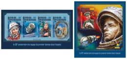 CENTRAL AFRICA 2016 - Yuri Gagarin, Space, M/S + S/S Official Issue