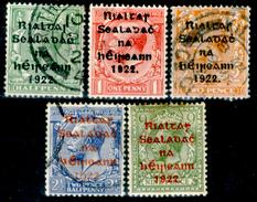 Irlanda 001 - 1922: UN N. 1B, 2B, 4B, 5B (o), 11B (+), Privi Di Difetti Occulti.- - 1922 Governo Provvisorio