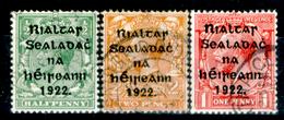 """Irlanda 001A - 1922: UN N. 1Ca, 2Ca (""""I"""" Di Rialtas Più Lunga), 4B (o), Privi Di Difetti Occulti.- - 1922 Governo Provvisorio"""