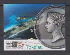 Tokelau Block Mi 21 The Stamp Show London 2000 - Sea Shore - Victoria Coin * * - Tokelau