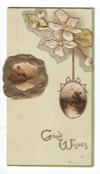 Carte De Voeux/Anglaise /Good Whishes/Gaufrée/Paysage D'hiver Et Fleurs/Vers 1930       CVE84 - Nieuwjaar