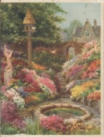 Carte De Voeux/Anglaise /Wishes Christmas And Coming Year/Jardin Fleuri  Avec Bassin /Valentine'sVers 1940-50      CVE85 - Nouvel An