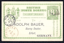 British North Borneo - Sandakan - Erfurt 1891 Adolph Bauer Germany 8 Cents Stamp - Postcards