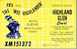 Bagpiper Joueur De Cornemuse On QSL Card From Ross Rollins, Quesnel, British Columbia, Canada XM151372 - CB