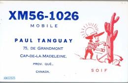 Cactus Sur QSL De Paul Tanguay, Cap De La Madeleine, Québec, Canada XM56-1026 1966 - CB