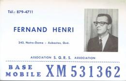 QSL Avec Photo De Fernand Henri, Notre-Dame, Asbestos, Québec, Canada XM531362 (1967) - CB