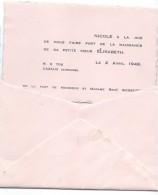 Faire-part De Naissance/Bossuet/Nicole/Elisabeth/Cazaux/Gironde/1949      FPN2 - Nascita & Battesimo
