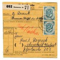 3959 - DDR - Bund-PK Von Hannover > Arnstadt Mit Mi.Nr.134 (senkr.Paar) - RS 134 + 165 (senkr.UR-Paar) OHNE Schwärzung - Cartas