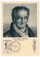 FRANCE => 4 Cartes Maximum => Série Grands Médeçins PINEL, WIDAL, LERICHE, NICOLLE - 1958 - Maximum Cards
