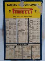 Tableau De Gonflage 1955:1960 PIRELLI - Cars