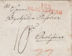 """France Deutschland Dept. Conquis 1812 """"129 OLDENBOURG"""" Lettre Oldenburg Pour Ovelgönne (o161) - Storia Postale"""