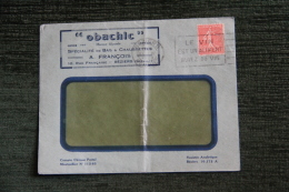 """Enveloppe Timbrée Publicitaire - BEZIERS , """"OBACHIC"""", A.FRANCOIS, Bas Et Chaussettes 10 Rue Francaise .Taxe - 1900-29 Blanc"""