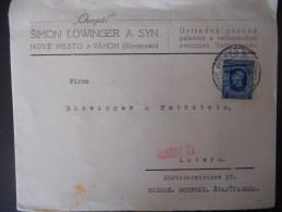 Slovaquie Lettre De Nove Mestro 1942 Pour Luzern , - Slovaquie