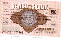 Italia - Miniassegno Banco Di Sicilia -Torino 1977 - Monete & Banconote