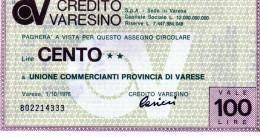 Italia - Miniassegno Credito Varesino - Varese 1976 - Monete & Banconote