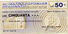 Italia - Miniassegno Banca Popolare Di Milano  - Milano 1977 - Monete & Banconote