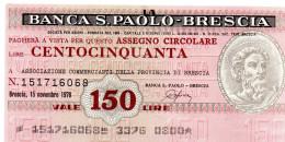 Italia - Miniassegno Banca San Paolo - Brescia 1978 (leggera Piega Centrale) - Monete & Banconote