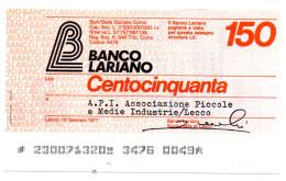 Italia - Miniassegno Banco Lariano - Lecco 1977 - Monete & Banconote