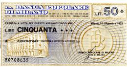 Italia - Miniassegno Banca Popolare Di Milano - Milano 1976 - Monete & Banconote