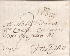 """France Italia Dept. Conquis Le Trasimène 1810 """"117 TERNI"""" Lettre Pour Foligno (o167) - 1792-1815: Dipartimenti Conquistati"""