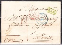 Lettre De 1844 De Bruxelles Pour Paris (France) - Griffe Encadrée Verte B.3.R. - LOOK!!!! - 1830-1849 (Belgique Indépendante)