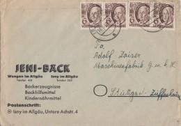 Württemberg Brief Mef Minr.4x 15 Isny 16.8.48 - Französische Zone