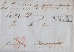 Preussen Paketbegleitbrief R2 M. Gladbach 4.6. Gel. Nach Harsewinkel - Preussen