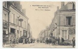 37 - MANTHELAN - HOTEL DU LION D´OR, RUE NATIONALE - CHARRETTE - PUBLICITÉ MURALE SINGER - 1911 - France