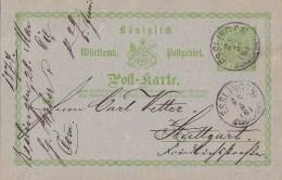 Württemberg Ganzsache Minr.P8 Esslingen 28.5.1874 - Wuerttemberg