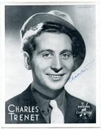 CHARLES TRENET - Signature Sur Photo DISQUES COLUMBIA - 20 X 25 Cm - Autographes