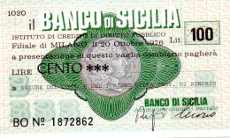Italia - Miniassegno Banco Di Sicilia - Milano 1976 - Monete & Banconote