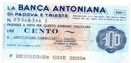 Italia - Miniassegno Banca Antoniana - Padova 1976 - Monnaies & Billets